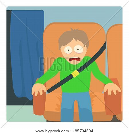 Aerophobia concept. Cartoon illustration of a man suffering from the fear flying on an airplane