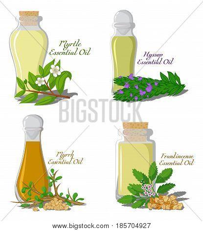 A set of essential oils: Myrtle, Hyssop, Myrrh, Frankincense
