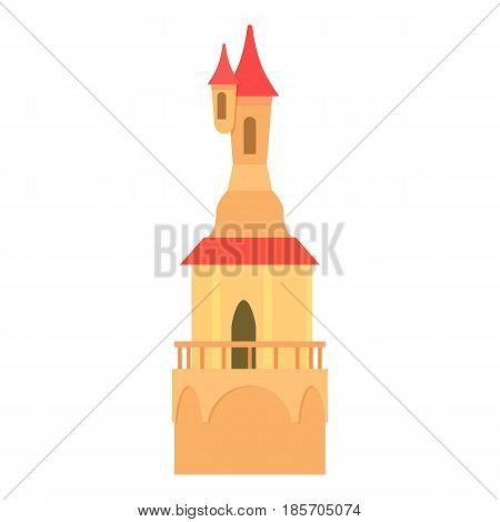 Castle tower with a pointed domes icon. Cartoon illustration of castle tower with a pointed domes vector icon for web
