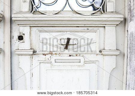 Old Metal Vintage Doorbell  On The Wooden Door