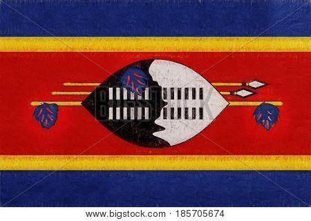Flag Of Swaziland Grunge.