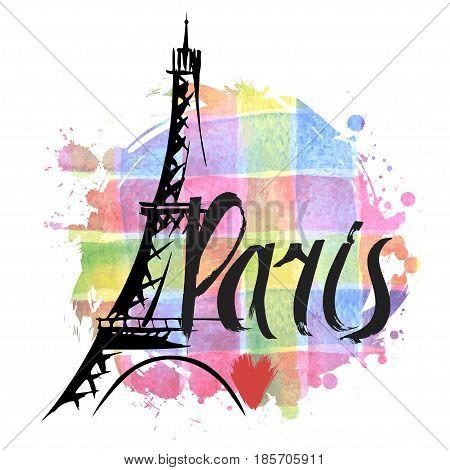 Hand drawn Eiffel Tower. Paris vector illustration