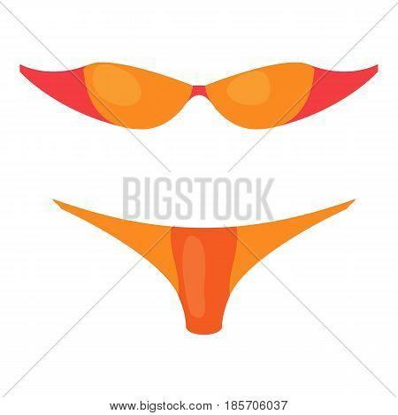 Orange woman swimsuit bikini icon. Cartoon illustration of orange woman swimsuit bikini vector icon for web