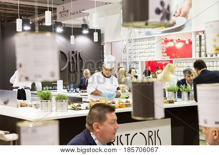 Cook Working At Tuttofood 2017 In Milan, Italy