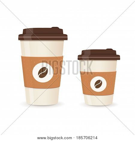 Realistic paper coffee cup set. Large and small sizes. Coffee take away. Vector illustration