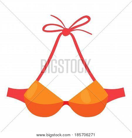 Orange swimsuit bra icon. Cartoon illustration of orange swimsuit bra vector icon for web