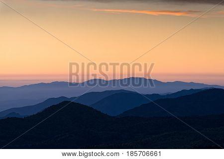 Ridges of Pindus range at sunrise in Thessaly, Greece