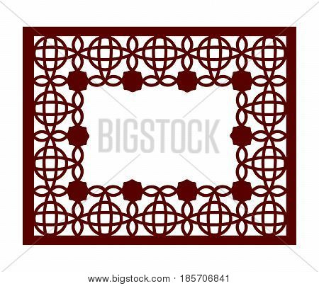 Lacy Frame With Carved Openwork Pattern. Vector Stencil. Template For Interior Design, Layouts Weddi
