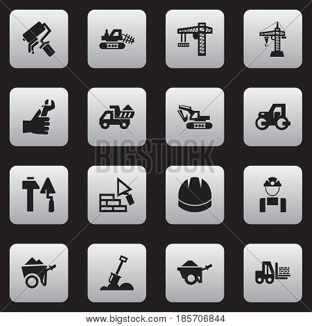 Set Of 16 Editable Construction Icons. Includes Symbols Such As Handcart ,  Lifting Equipment, Elevator. Can Be Used For Web, Mobile, UI And Infographic Design.