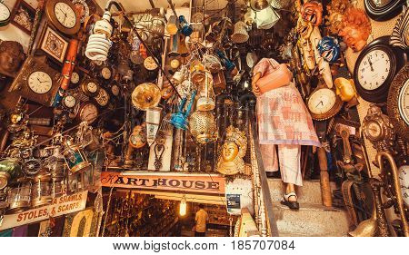 BANGALORE, INDIA - FEB 14, 2017: Store with vintage furniture art objects and antiques on second-hand market on February 14, 2017. With population 8.52 million Bangalore is 3rd most populous indian city