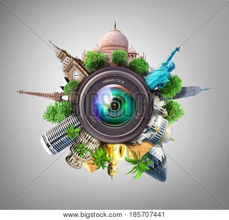 Concept of photography. The most popular attractions of the world with palm trees and other trees behind the camera lens on blue background. Concept of travel. Recreation.