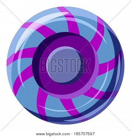 Blue and purple sweet lollipop candie icon. Cartoon illustration of blue and purple sweet lollipop candie vector icon for web