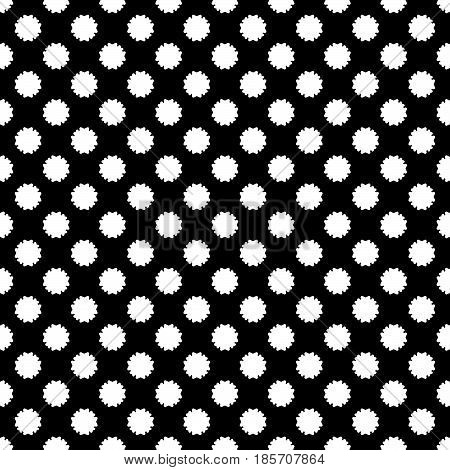 Vector seamless pattern, simple floral geometric texture, white staggered flower silhouettes on black background. Abstract illustration, repeat tiles. Old style design for prints, decor, textile, web