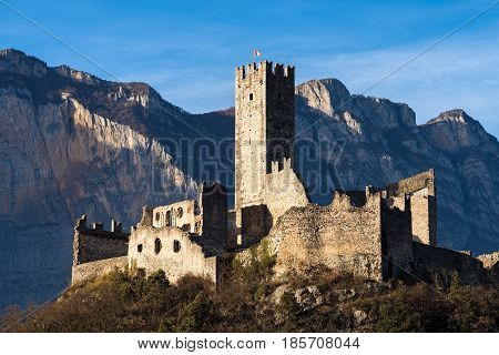 View of Drena castle in Trentino, Italy
