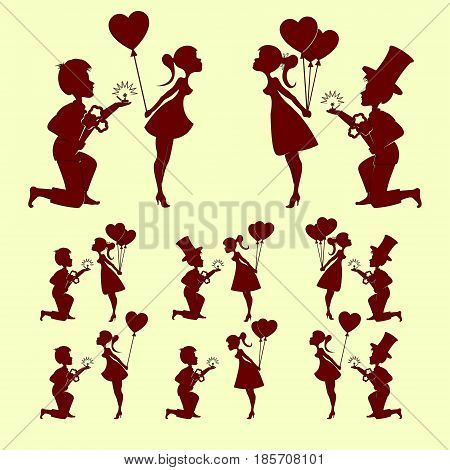 the outlines of a loving couple, a boy Prince with a bouquet of flowers and wedding ring, and girl with balloons, set