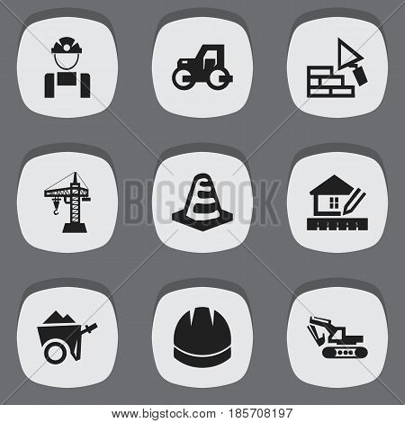 Set Of 9 Editable Construction Icons. Includes Symbols Such As Hardhat , Facing, Handcart. Can Be Used For Web, Mobile, UI And Infographic Design.
