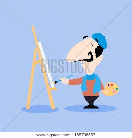 Male artist cartoon character painting on a canvas with a brush vector illustration