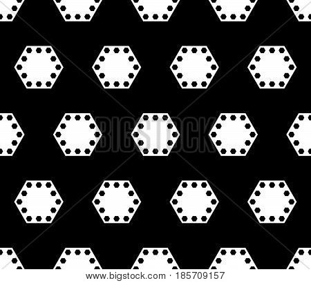 Vector geometric seamless pattern, black & white abstract background with big perforated hexagons. Dark monochrome texture, repeat tiles. Design for prints, decor, textile, fabric, furniture, covers