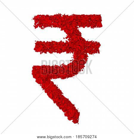 Indian Rupee Symbol made with red color powder isolated on a white background