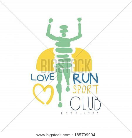 Love run sport club logo symbol. Colorful hand drawn illustration for sport poster, emblem, sign of the race supporters, fan clubs