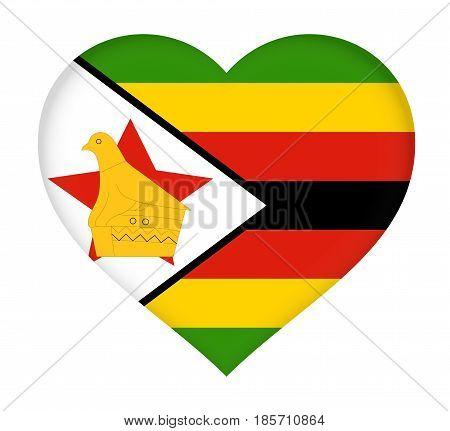 Flag Of  Zimbabwe Heart