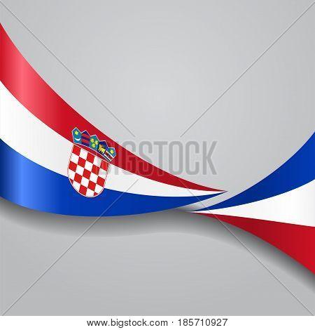 Croatian flag wavy abstract background. Vector illustration.