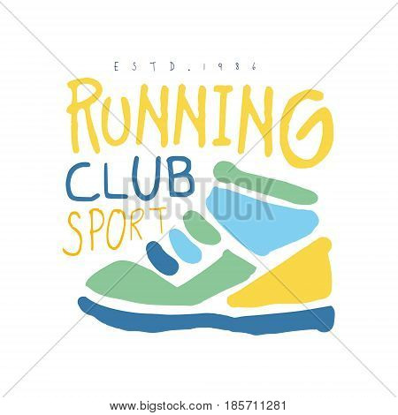 Running club cport logo symbol. Colorful hand drawn illustration for sport poster, emblem, sign of the race supporters, fan clubs