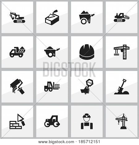 Set Of 16 Editable Construction Icons. Includes Symbols Such As Spatula, Facing, Endurance And More. Can Be Used For Web, Mobile, UI And Infographic Design.