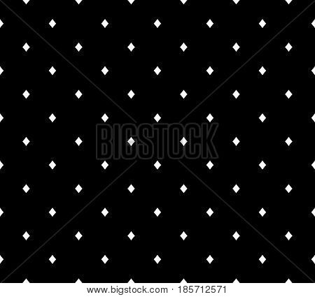Vector minimalist monochrome texture, black & white geometric simple seamless pattern with small rhombuses. Stylish hipster dark abstract background. Design element for print, decor, textile, fabric