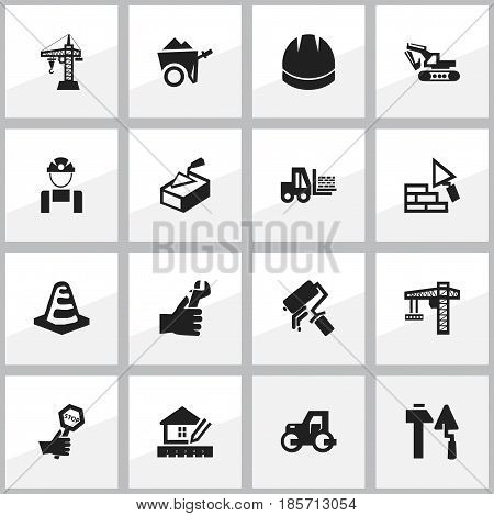 Set Of 16 Editable Structure Icons. Includes Symbols Such As Caterpillar, Handcart , Excavation Machine. Can Be Used For Web, Mobile, UI And Infographic Design.
