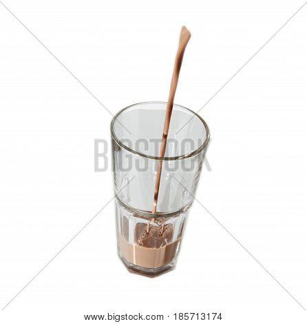 milk chocolate glass pouring liquid breakfast  healthy drink