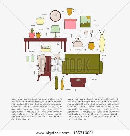 Interior Design concept. Homewares line icon set. Vector home appliances.