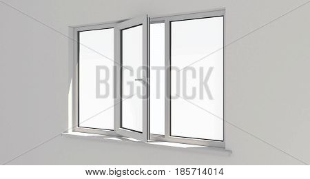 Window. Wall.White wall . Aluminum window. White window. Pvc window. 3d.
