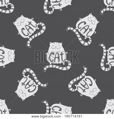 Cute Fat Cat Seamless Pattern, Funny Hand Drawn On Dark Backgrou