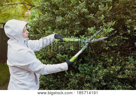 woman in white trimming hedges using gardening shears