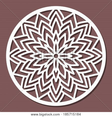 Vector Stencil Lacy Round Ornament Mandala With Carved Openwork Pattern. Template For Interior Desig