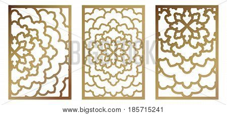 Set Of Vector Laser Cut Panel. Abstract Pattern Template For Decorative Panel. Template For Interior