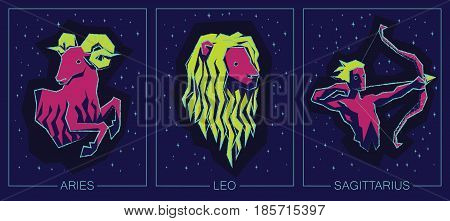 Vector illustration of Zodiac Signs on Night Starry Sky Background. Zodiac Fire Signs. Aries, Leo, Sagittarius.