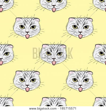 Seamless Pattern Funny Fashion Cat. Hand Drawn.