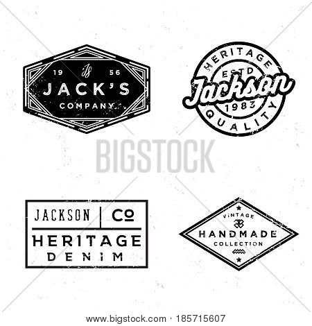 Vintage old labels design set. Prints for t-shirt or apparel. Retro badges for fashion and clothing. Old school graphics for t-shirt, apparel, denim, sewing workshop in style 60s 70s