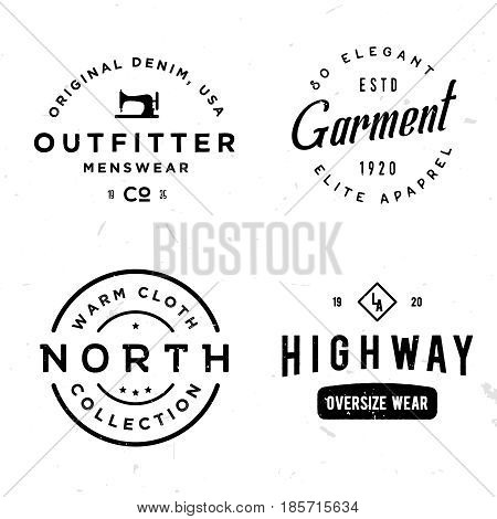 Set of vintage stickers on apparel theme. Labels for t-shirt, print, cloth, fabric, clothing badge, etc. Retro old style