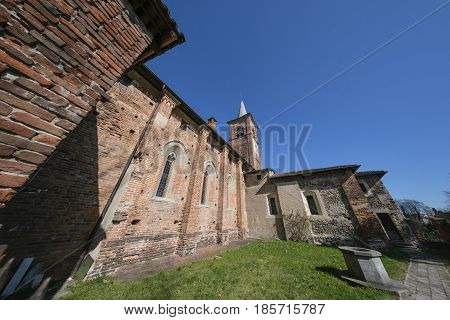 Castiglione Olona (Varese Lombardy Italy) historic town. Medieval church known as Collegiata. Fisheye lens.