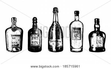 Hand sketched bottles of alcoholic beverages rum, gin, vodka, champagne, cognac. Vector illustrations set of drinks