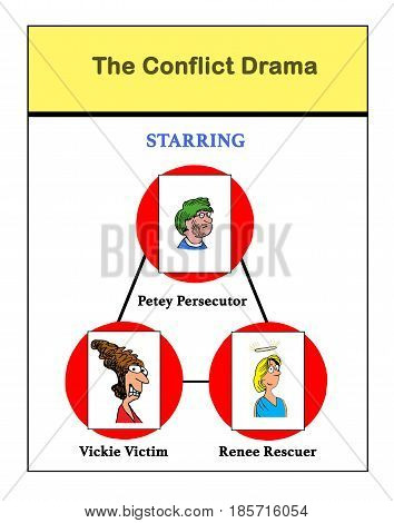 Business cartoon illustration depicting a conflict drama.