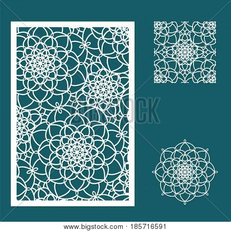 Vector Laser Cut Panel, The Seamless Pattern For Decorative Panel And Flower. Template For Interior