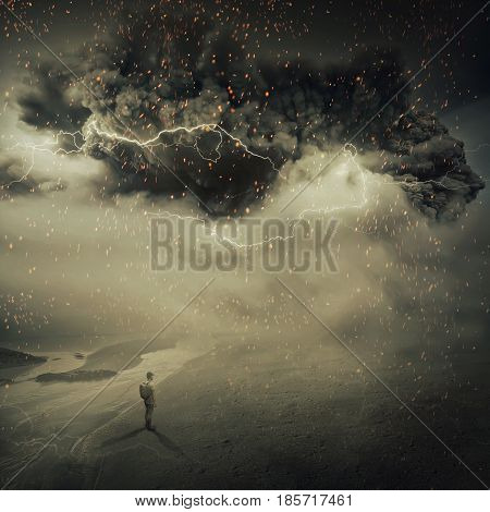 Surreal view as a young boy stand on the sandy ground near the seaside watching a hurricane sandstorm coming with a million fire sparkles in the sky. Adventure and life emotions.