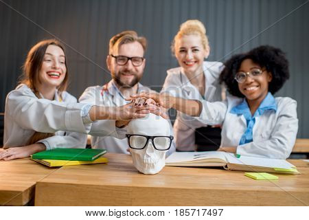 Portrait of a happy multi ethnic group of medics holding hands on the gypsum skull together at the office or classroom