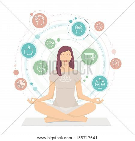 Woman practicing mindfulness meditation she is sitting in the lotus position and she is surrounded by health and wellness concepts