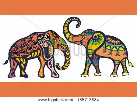 Elephants. Silhouette Funny Elephants for your design