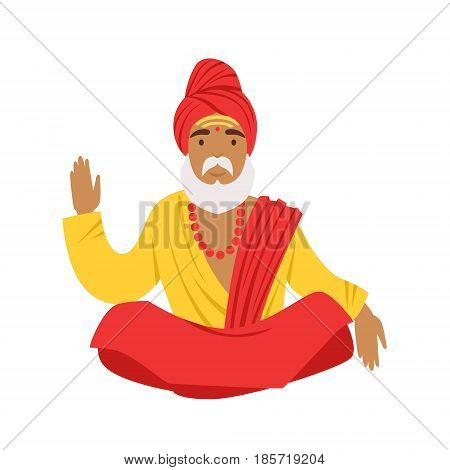 Yogi man in yoga lotus pose, wearing traditional Indian clothes. Colorful character vector Illustration isolated on a white background